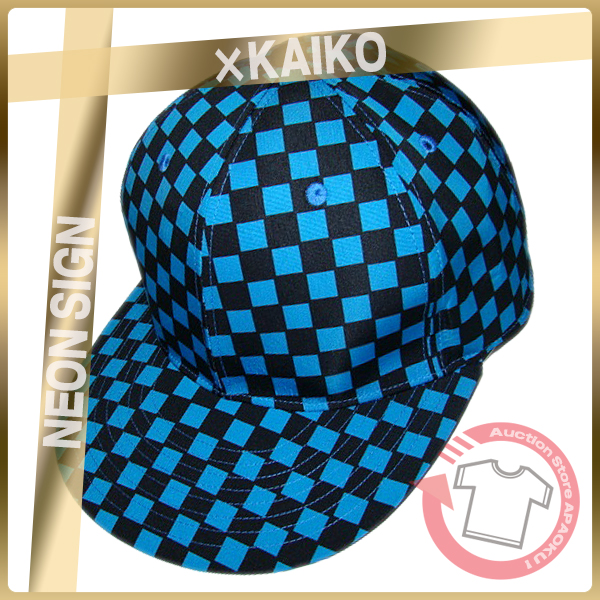 1■17SS NEON SIGN×KAIKO BASE BALL CAP CHECKER FLAG ブルー×ブラック チェッカー