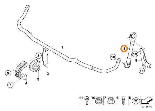 BMW E60 E61 5シリーズ Fr左 左前 スタビライザーリンクロッド_画像2