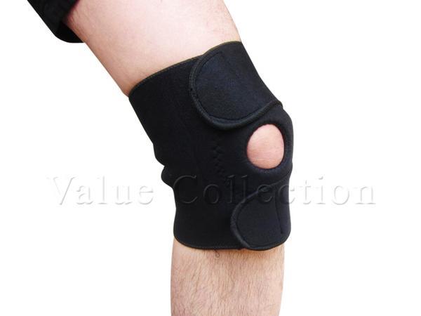 訳あり膝ひざサポーター黒片足/痛み防止対策新品左右兼用1つ_画像1