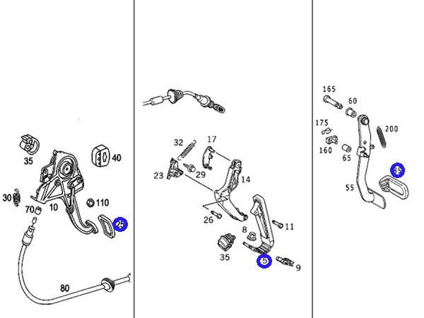 純正品 アクセル+ブレーキ+サイドブレーキペダル 3点セット/R230 R129 W219 W211 W210 (170-300-0004+170-290-0182+203-430-0084)_画像3