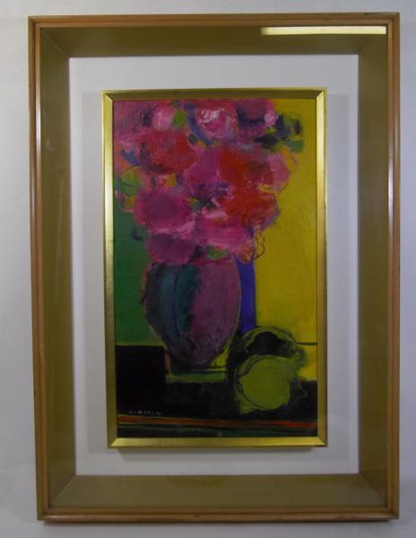 ●黒木邦彦 【薔薇とレモン】 8号油彩 静物画 P15