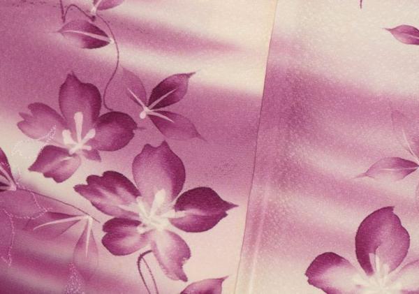 絹100% 紋意匠縮緬 手描き暈し染訪問着  誂仕立 中古品_画像4