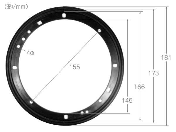 スピーカーメッシュグリルカバー 16/17cm/6.5インチ 黒 左右/b21к_画像3