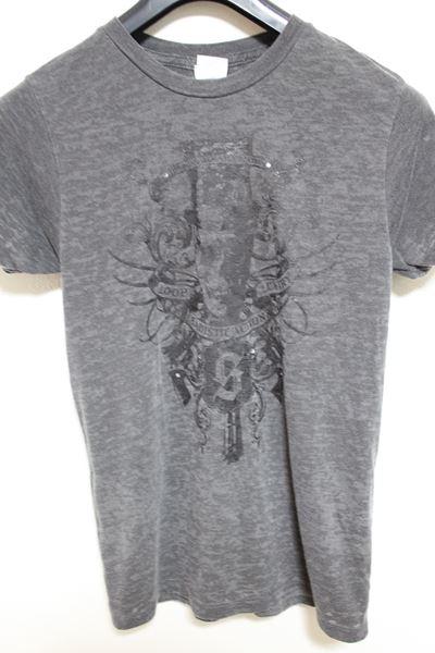 サディスティックアクション SADISTIC ACTION メンズバーンアウト半袖Tシャツ チャコール Sサイズ 新品_画像1