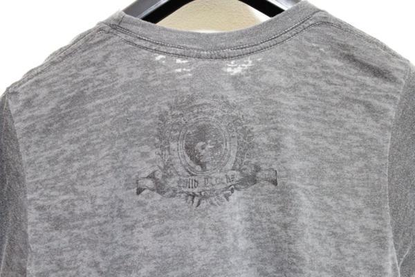 サディスティックアクション SADISTIC ACTION メンズバーンアウト半袖Tシャツ チャコール Sサイズ 新品_画像4