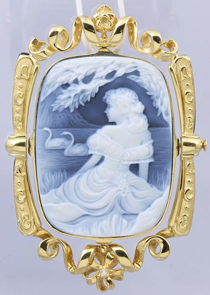 F.W.Klein K18 メノウ カメオ ダイヤ ブローチ 美品 送料無料【c54】 † Friedrich Wilhelm Klein 瑪瑙 ペンダントトップ オニキス?_画像2