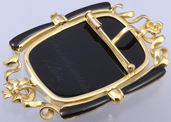 F.W.Klein K18 メノウ カメオ ダイヤ ブローチ 美品 送料無料【c54】 † Friedrich Wilhelm Klein 瑪瑙 ペンダントトップ オニキス?_画像5