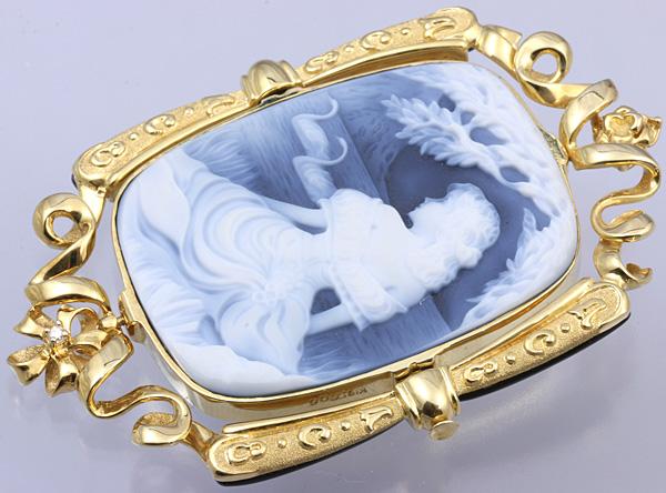 F.W.Klein K18 メノウ カメオ ダイヤ ブローチ 美品 送料無料【c54】 † Friedrich Wilhelm Klein 瑪瑙 ペンダントトップ オニキス?_画像4