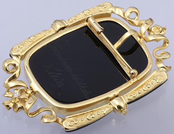 F.W.Klein K18 メノウ カメオ ダイヤ ブローチ 美品 送料無料【c54】 † Friedrich Wilhelm Klein 瑪瑙 ペンダントトップ オニキス?_画像6