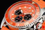 1円 オレンジ&ホワイト 上級ソーラー ダイバー200m防水 【回転(逆回転防止)ベゼル】クロノグラフ 腕時計