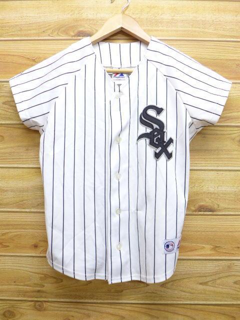 古着 半袖 ベースボール シャツ MLB シカゴホワイトソックス ジョークリーディ 白 ホワイト ストライプ 中古 ブラウス トップス グッズの画像