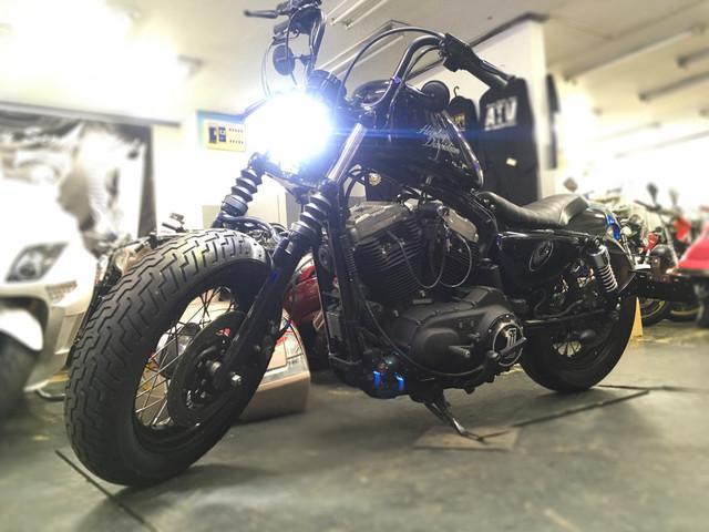 XL1200X フォーティエイト フォーティエイト ショットガンマフラー バンスオートチューン LEDヘッドライト_画像4