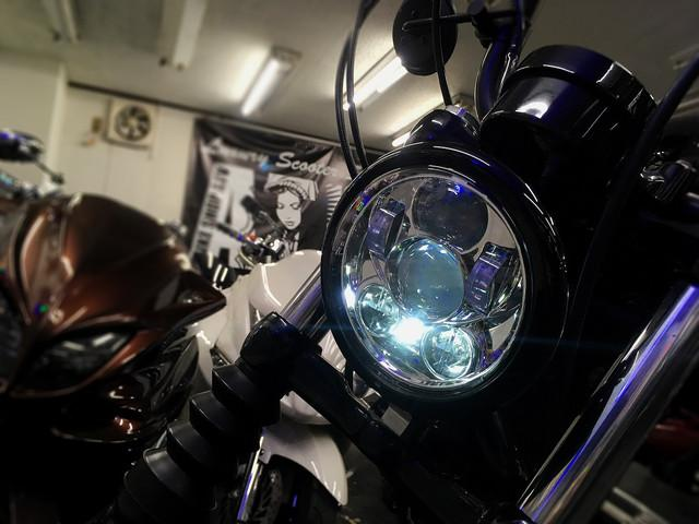 XL1200X フォーティエイト フォーティエイト ショットガンマフラー バンスオートチューン LEDヘッドライト_画像8