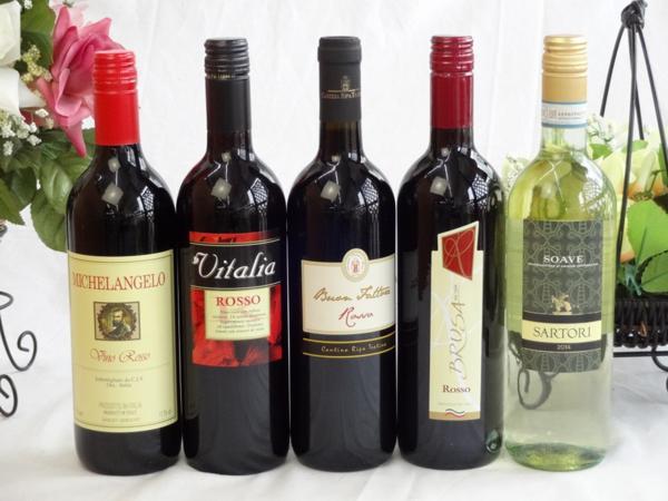 イタリア赤白ワイン5本セット(ミケランジェロ赤・ブルーサ赤・_画像1