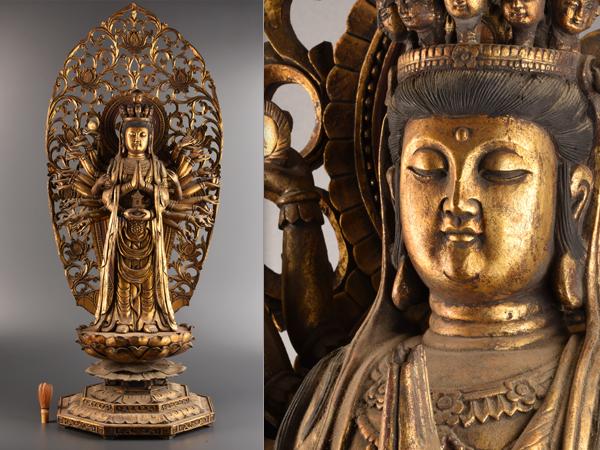 【流】仏教美術 木造塗金特大千手観音立像 高124cm BE727●