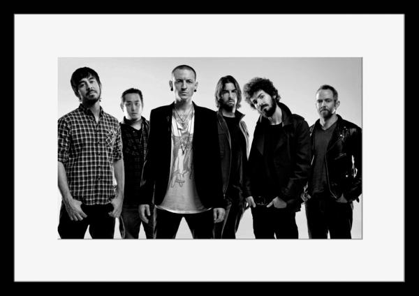 BW:人気ロックバンド!リンキン・パーク/Linkin Park/モノクロ写真フレームマット付-1