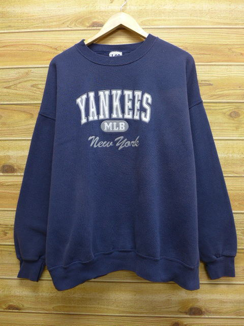 XL★古着 中古 スウェット リー Lee MLB ニューヨークヤンキース 大きいサイズ 紺 17mar17 グッズの画像
