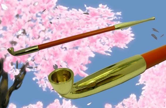送料220円~職人手造り 艶やかな朱色 花魁煙管(キセル)27,5cm!