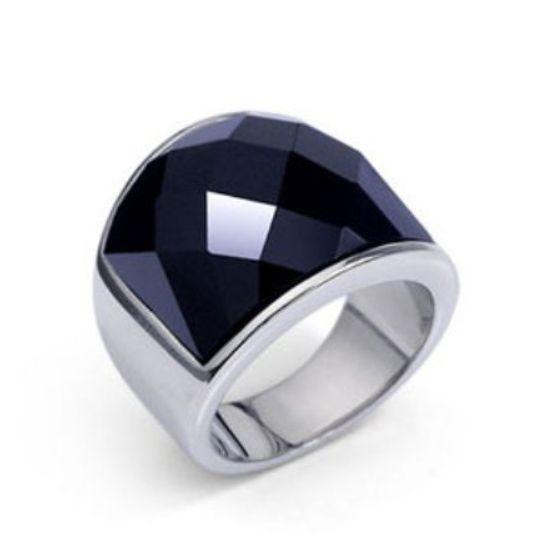 新品 ステンレス 耐久性 輝き長持ち ブラックストーン 指輪リング_画像1