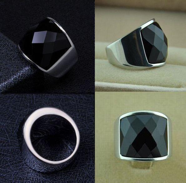 新品 ステンレス 耐久性 輝き長持ち ブラックストーン 指輪リング_画像2