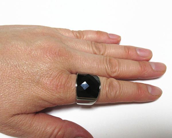 新品 ステンレス 耐久性 輝き長持ち ブラックストーン 指輪リング_画像9