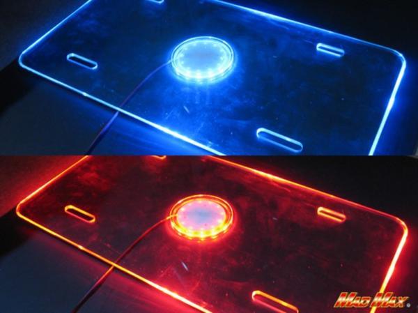 LEDアクリル ナンバーフレーム 大型車用 24V ブルー/レッド発光_画像1