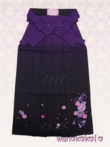 【和のこころキッズ】卒業式に◇ぼかし刺繍袴◇E紫系◇87cm_画像1