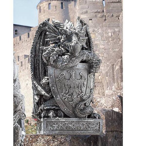 シールド(盾)を持ったアーサー王のドラゴン彫像/ Design Toscano Shield, the Arthurian Dragon Statue(輸入品_画像1