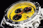 1円 イエロー&ブラック 上級 ソーラー 回転(逆回転防止)ベゼル クロノグラフ 腕時計
