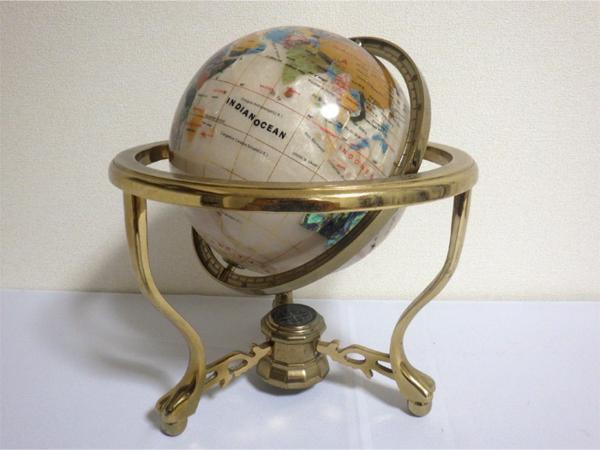 《アンティーク》☆インテリア『螺鈿細工の地球儀』象嵌 金枠 方位磁石 ビンテージ 美品☆552