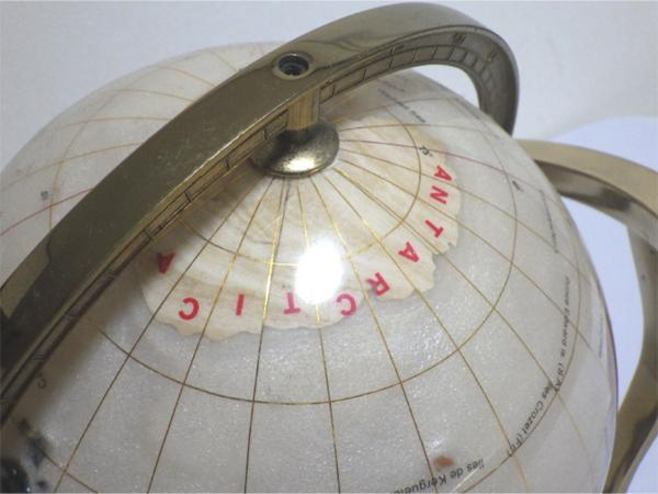 《アンティーク》☆インテリア『螺鈿細工の地球儀』象嵌 金枠 方位磁石 ビンテージ 美品☆552_画像4