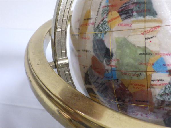 《アンティーク》☆インテリア『螺鈿細工の地球儀』象嵌 金枠 方位磁石 ビンテージ 美品☆552_画像5