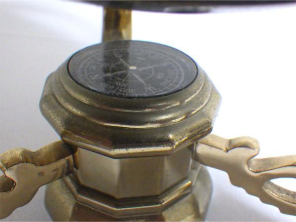 《アンティーク》☆インテリア『螺鈿細工の地球儀』象嵌 金枠 方位磁石 ビンテージ 美品☆552_画像8
