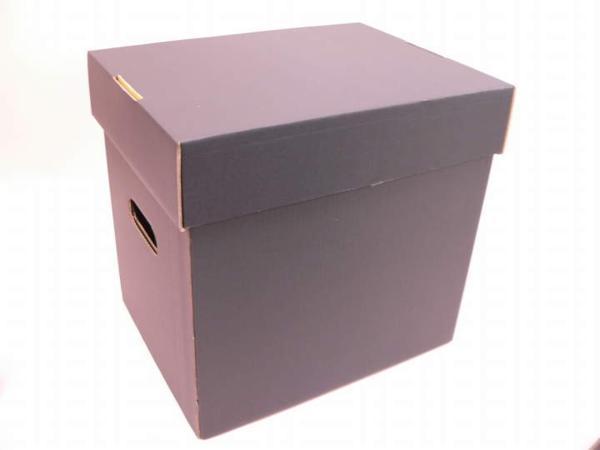 (サプライ) LD・LP保管用(黒色) 蓋付き強化段ボール箱 (未組立)_画像1