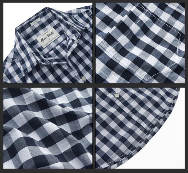 カリホリ シャツ メンズ 長袖 0416 チェック A-白紺 20001/XLsize 新品_画像2