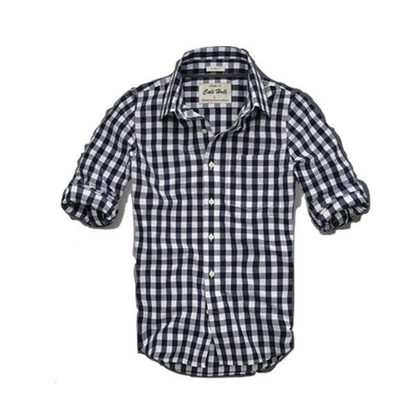 カリホリ シャツ メンズ 長袖 0416 チェック A-白紺 20001/XLsize 新品_画像1