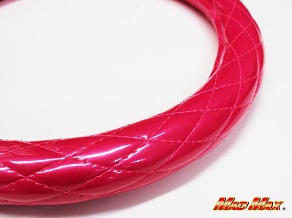極太 エナメル ピンク シングルステッチ ハンドルカバー 2HS_画像1