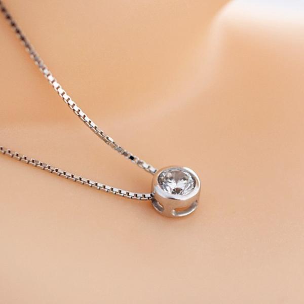 新品 贈り物 プレゼント 0.2ct相当 一粒石 キュービックジルコニア ネックレス_画像4