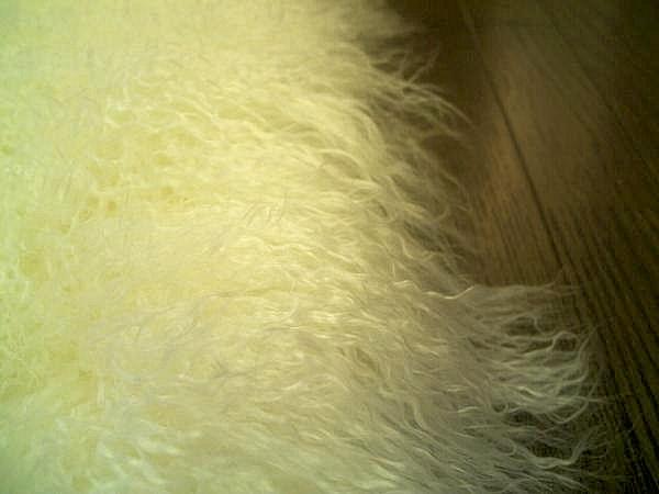 ゴートファーラグ(山羊毛皮)シャギー長毛 200×250 約 3畳 WH ウール ラグ カーペット マット 絨毯 インテリア ラグマット _画像3