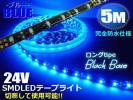 同梱可 ロング 5M 青 LED テープライト 防水 24V/切断可 黒 C