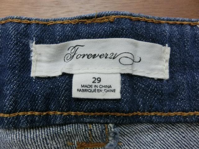 t1701 Forever21 デニムストレッチショーパン 29 綿99% ポリウレタン1%_画像7