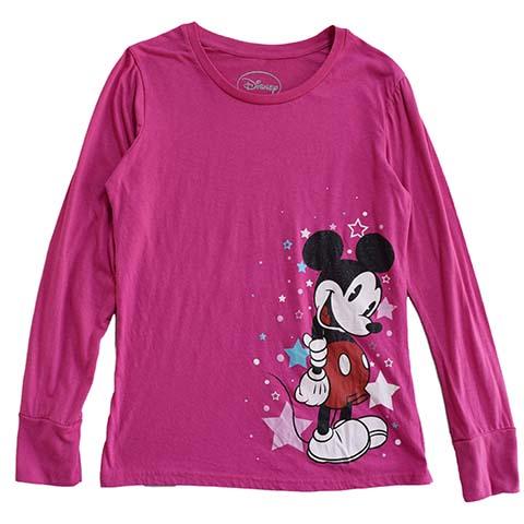 【S】 10's ディズニー ミッキーマウス 長袖Tシャツ キャラクターTシャツ Disney Mickey Mouse キッズL レディースS相当 アメリカ古着_画像1