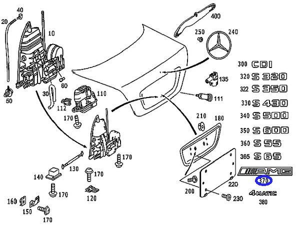 ベンツ W210 W211 W202 W203/純正品 AMG トランクエンブレム_画像2