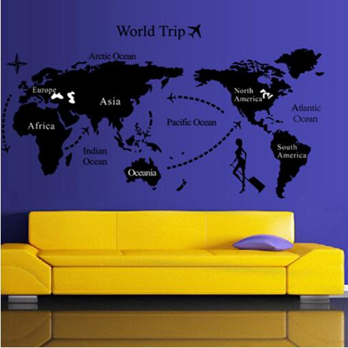 貼ってはがせる ウォールステッカー/世界地図A/DIY壁紙_画像1