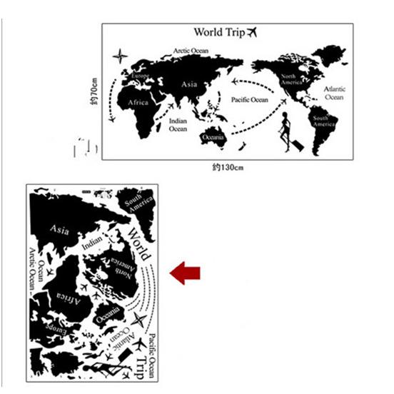 貼ってはがせる ウォールステッカー/世界地図A/DIY壁紙_画像3