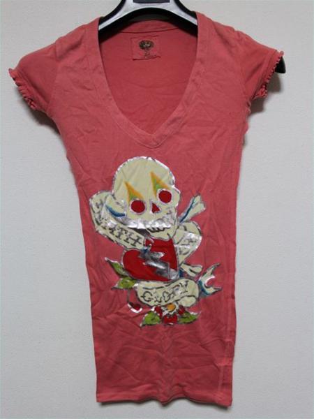 エドハーディー ED HARDY レディース半袖Tシャツ Sサイズ ピンク 新品_画像1