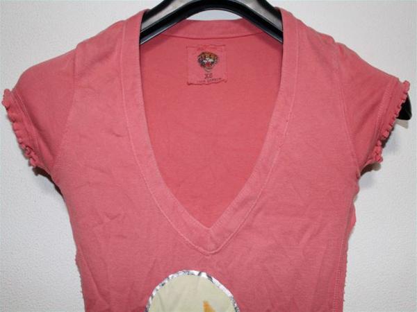 エドハーディー ED HARDY レディース半袖Tシャツ Sサイズ ピンク 新品_画像2