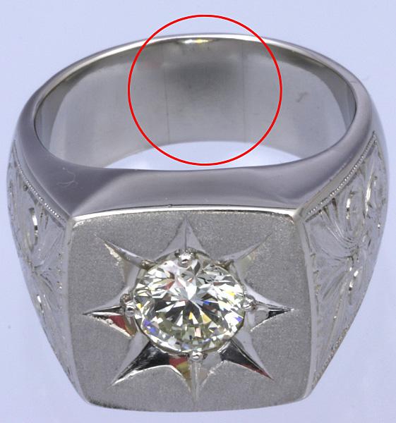 Pt900 印台 ダイヤ1.52 メンズ リング 54.8g #27号 磨き済 送料無料【y51】 プラチナ 男性用 指輪 ☆_画像6