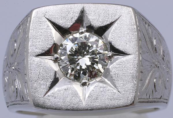 Pt900 印台 ダイヤ1.52 メンズ リング 54.8g #27号 磨き済 送料無料【y51】 プラチナ 男性用 指輪 ☆_画像1