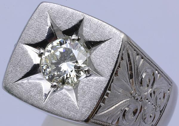 Pt900 印台 ダイヤ1.52 メンズ リング 54.8g #27号 磨き済 送料無料【y51】 プラチナ 男性用 指輪 ☆_画像3